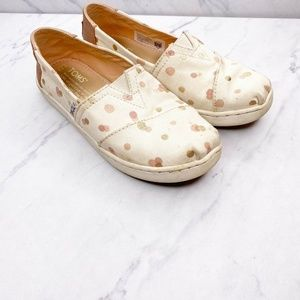 Toms Pink Rose Gold Polka Dot Shoes Loafers 13.5